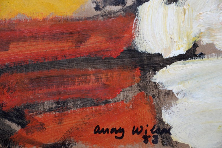 Abstract '83 - Orange Yellow - British 20th century Action art oil painting For Sale 4