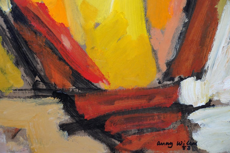 Abstract '83 - Orange Yellow - British 20th century Action art oil painting For Sale 5