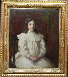 Edwardian Portrait of a Young Girl - Scottish 1909 art portrait oil painting