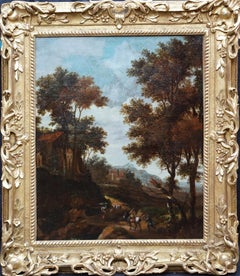 Italian Landscape with Travellers - Dutch Golden Age 17thC art oil painting