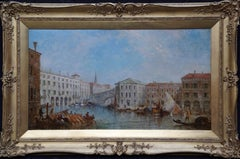 Rialto Bridge Grand Canal Venice - British Victorian landscape art oil painting
