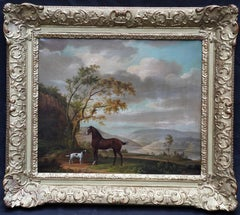 Bay Horse and Spaniel in Lake Landscape - British art Old Master oil painting