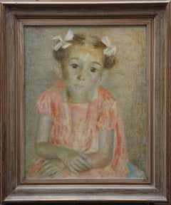The Party Frock - British 1940's art female child portrait oil painting exhib RA