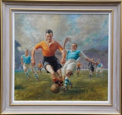 Football Match Wolves Vs Man City 1947 Score 1:0  sporting portrait oil painting
