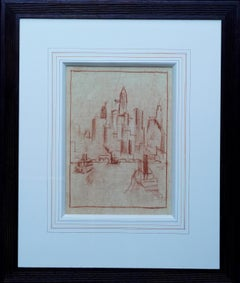 Manhattan from the River - Dutch 1920's art oil crayon drawing New York city