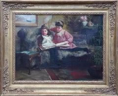 Out of Mischief - British Victorian 1891 art interior portrait oil painting