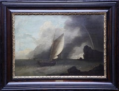 A Shipping Scene in Stormy Weather - Dutch 17th century art marine oil painting