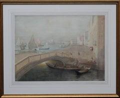 Venice - Scottish 19thC Glasgow Boy artist seascape painting Venetian bridge
