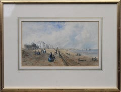 Promenade at Southport - British 19th century art coastal landscape watercolour