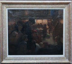 Family Portrait in Market - British 1914 art Post Impressionist oil painting