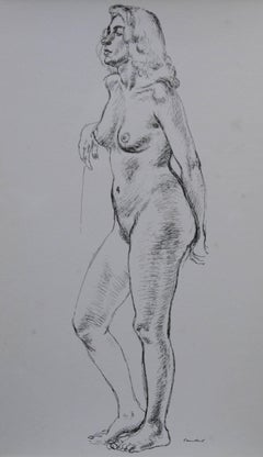 Standing Nude - British 1946 exhibited art female portrait - Royal Academician