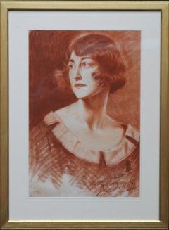 Portrait of a Lady - British Roaring Twenties Art Deco female portrait red chalk