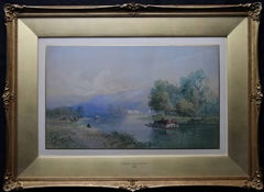 Swiss Rhine Landscape - British Victorian art watercolour painting riverscape