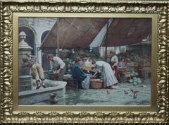 The Market Place Venice - British Victorian art watercolour painting Italy