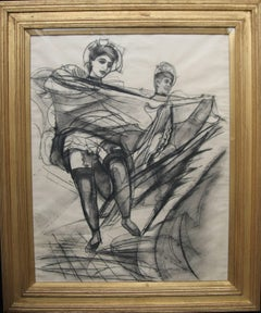 Can Can Dancers - British Art Deco drawing Burlesque women dancers VG provenance