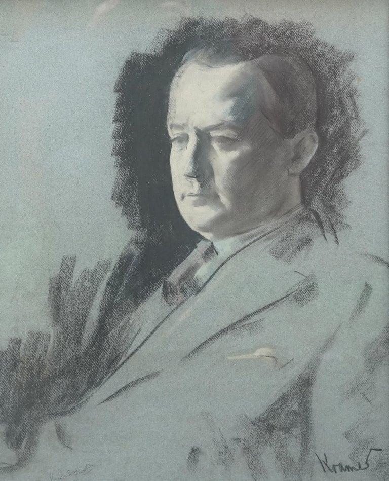 Portrait Sketch of George Hopkinson - British Jewish art 1920's male portrait  - Realist Art by JACOB KRAMER