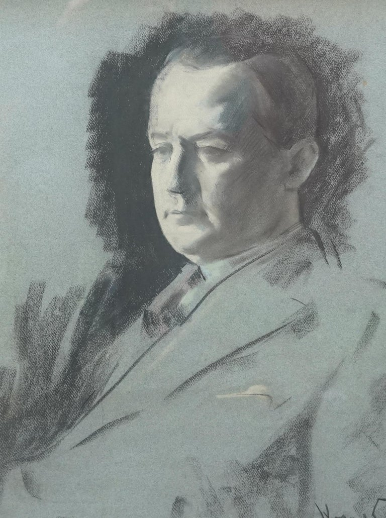 This superb sketch in chalk/pastel is by noted Russian Jewish artist Jacob Kramer. The sitter is a friend of the artist, George Hopkinson, proud Yorkshireman and textile businessman who was a director of a West Riding textile company. It is a
