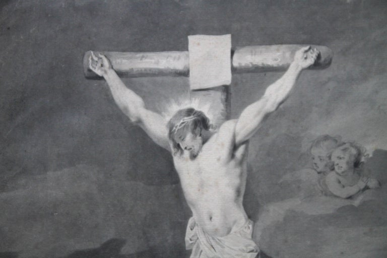 The Crucifixion of Jesus - Dutch Old Master art religious painting female artist - Gray Portrait by Sara Troost