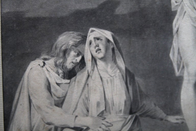 A fine ink and grey wash watercolour painted circa 1770 by Sara Troost.  A superb Old Master Dutch religious artwork which depicts The Crucifixion with The Virgin, Saint John and Mary Magdalene. It is sublime in its execution and is a very fine