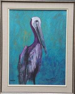 Pelican 1974 - Expressionist animal art watercolour/gouache bird painting