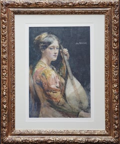 The Lute Player - Scottish Glasgow Boy artist Victorian exhibited portrait W/C