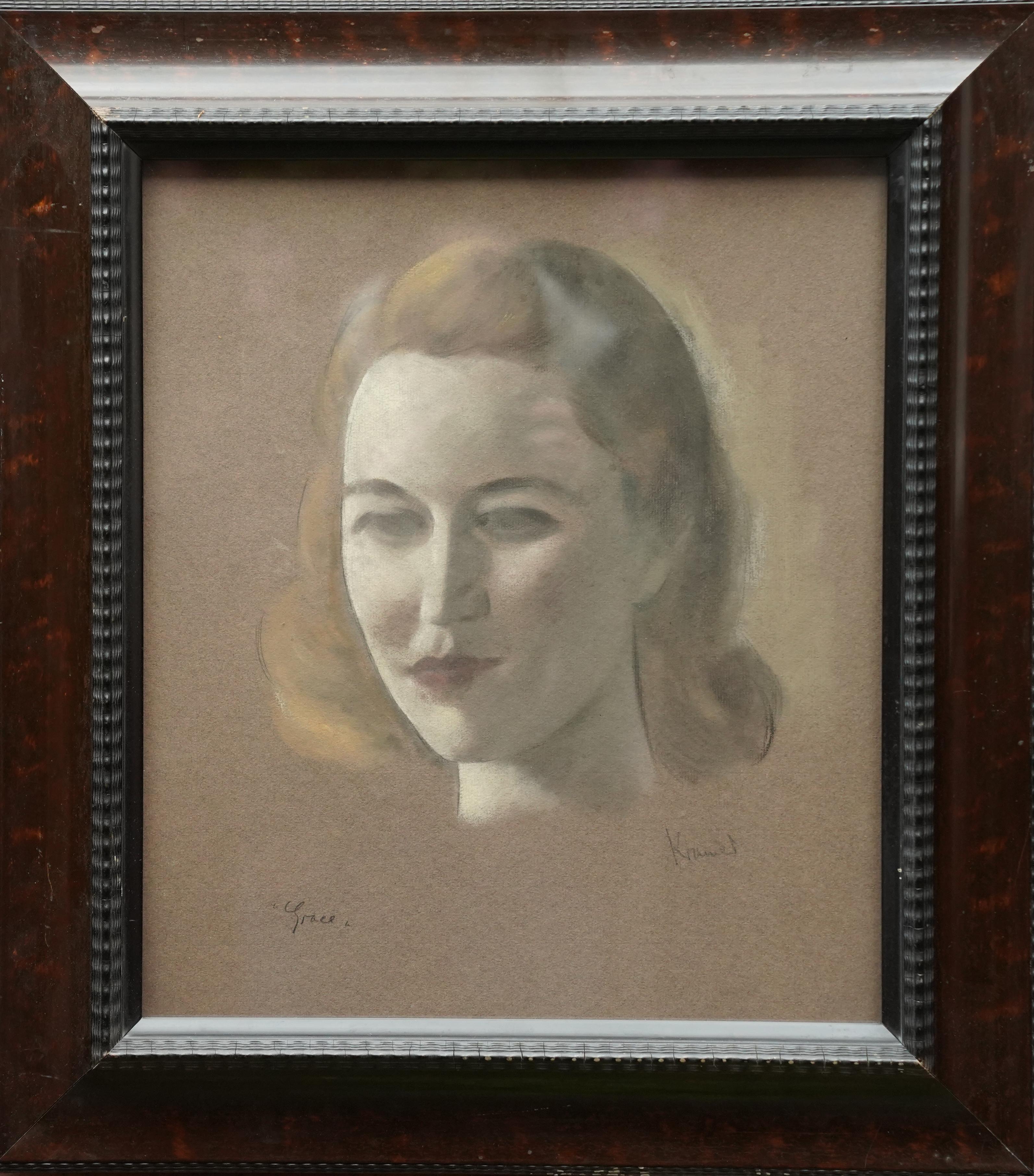 Portrait of Grace - British 1920's art female chalk portrait