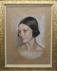 Portrait of a Woman - British Art Deco style female portrait