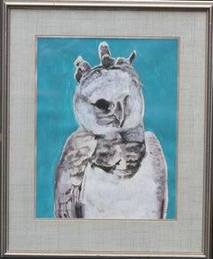 Ural Owl 1975 - Expressionist art animal watercolour gouache bird painting