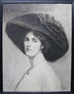 Portrait of Decima Moore - Actress & Suffragette Edwardian drawing female artist