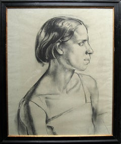 Portrait of a Young Woman - Art Deco charcoal pencil drawing