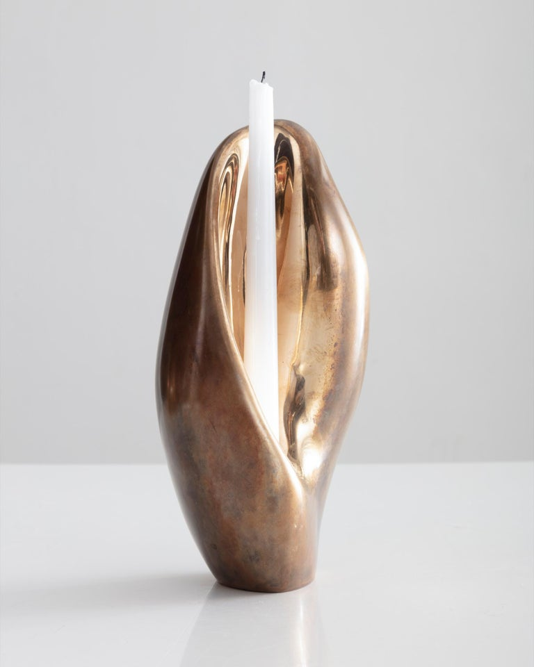 Rogan Gregory Patinated Bronze Candlestick Holder - Contemporary Sculpture by Rogan Gregory