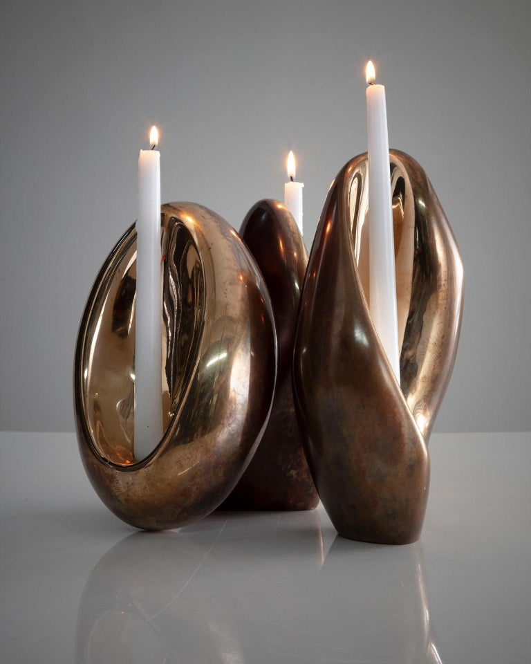 Rogan Gregory Bronze Fertility Form Double Candlestick Holder For Sale 2