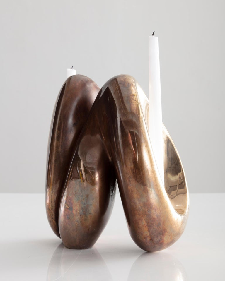 Rogan Gregory Bronze Fertility Form Double Candlestick Holder - Gold Abstract Sculpture by Rogan Gregory