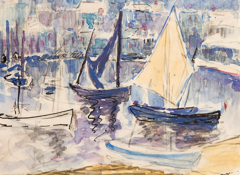 Hillary Clements Hassell Landscape Art - Boats in St. Tropez Harbour