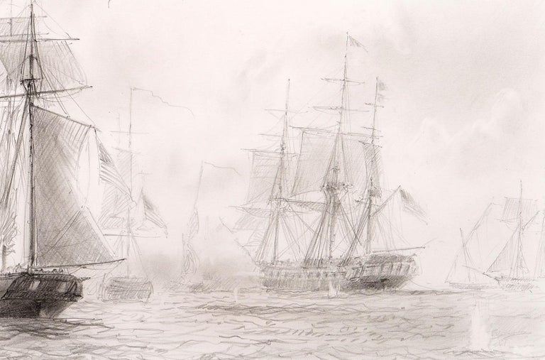 Pencil on paper  Known for his sailing paintings, John Steven Dews is the pre-eminent marine artist of our day. This finely detailed pencil drawing was Dews' preparation for a large scale painting of the Bombardment of Tripoli, by the US Navy, which