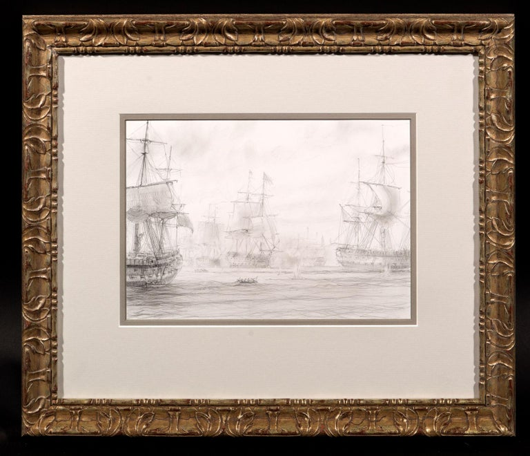 Pencil on paper  Known for his sailing paintings, John Steven Dews is the pre-eminent marine artist of our day. This ghostly drawing was Dews' preparation for one part of a set of spectacular, large- scale depictions of four great 19th Century sea
