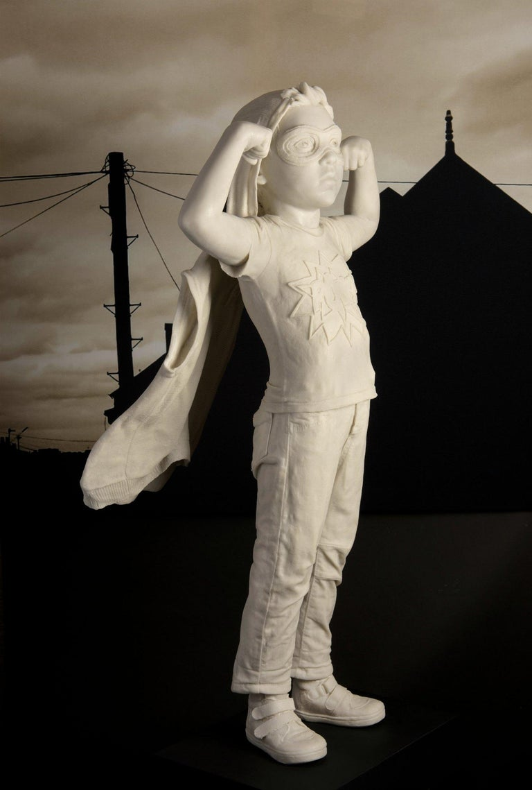 Pow - Black Figurative Sculpture by Cathy Lewis