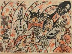 Carnival Sketch by Bruno Locci Italian 20th Century Painter 1937-2010