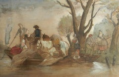 French 19th century Watercolor Villagers at waters edge manner Jules Hereau