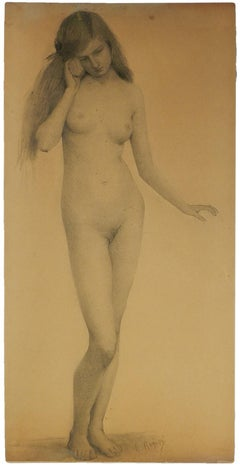 Nude Young Woman listening to Seashell Pencil Drawing by Rogisse de Leliva