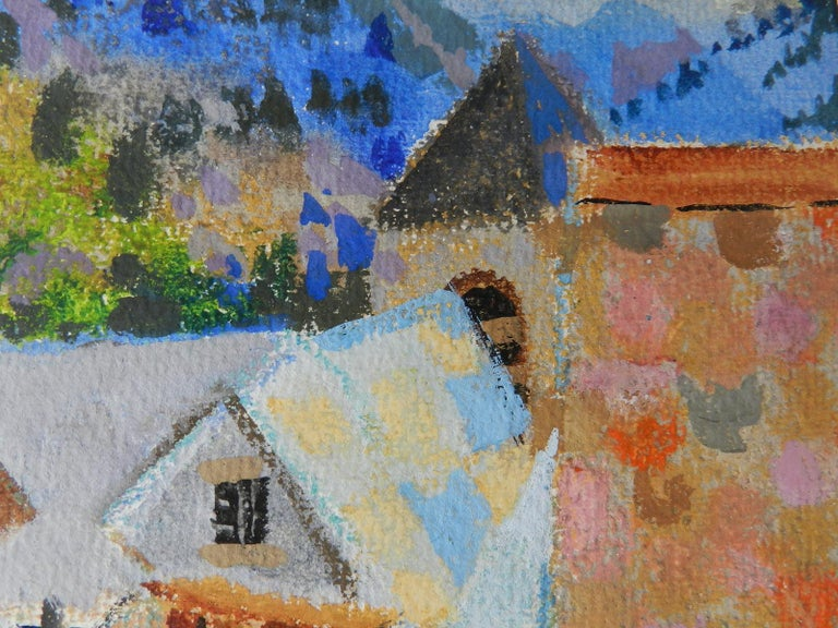 Watercolour by Pierre Lelong Maisons et Chiminees French c1960  - Impressionist Painting by Pierre LeLong