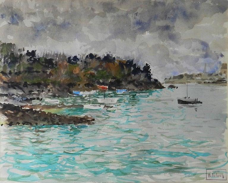 Pierre LeLong Landscape Art - Watercolour by Pierre Lelong French c1960 Cote d'Emeraude