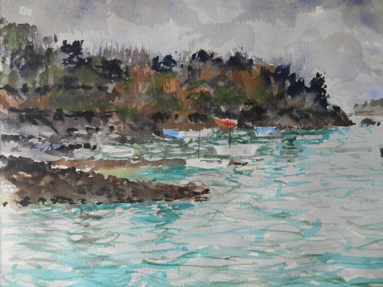 Watercolour by Pierre Lelong French c1960 Cote d'Emeraude - Impressionist Art by Pierre LeLong