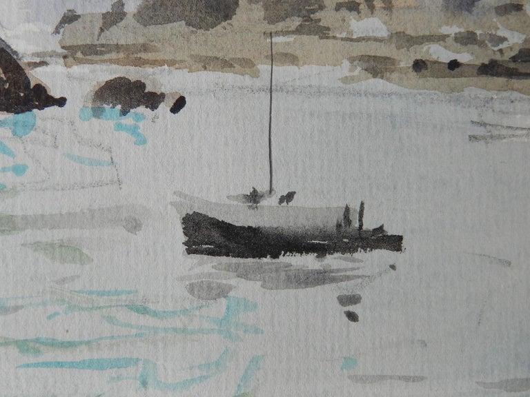 Watercolour by Pierre Lelong French c1960 Cote d'Emeraude - Gray Landscape Art by Pierre LeLong