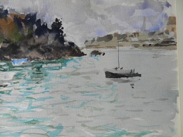 Watercolour by Pierre Lelong French c1960 Cote d'Emeraude For Sale 2