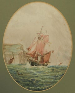 Watercolor of Sailing Ship at Sea English Marine late 19th Century