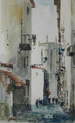 Spanish Watercolor Street Scene signed Diaz Mid century