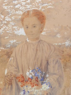 Girl In Garden With Flowers Original Watercolor English 19th Century