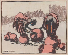 Women at Village by Margaret Trowell Woodcut Uganda