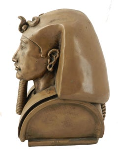 Egyptian Head by Ronald Moll Cold Cast Bronze Sculpture Akhenaten